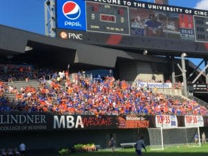 """Fans in """"The Bailey"""" over an hour before kickoff."""