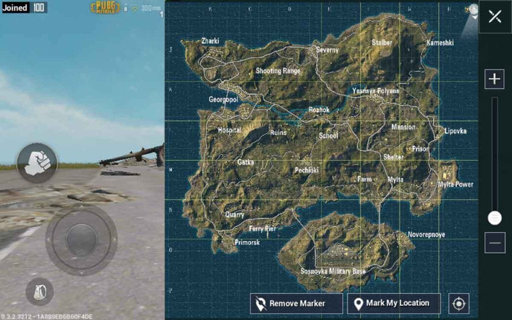 In-game map of PUBG Mobile