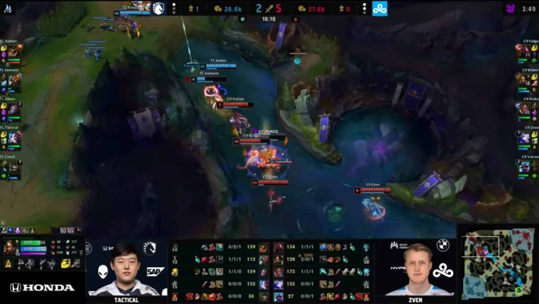 Cloud9 turned on Team Liquid after taking the Rift Herald in Game 4.
